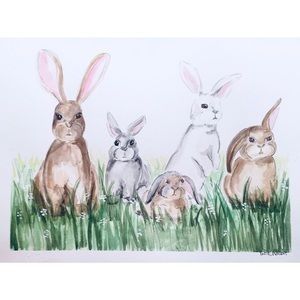 8X10 bunny water color print!